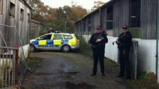 Armed police at farm