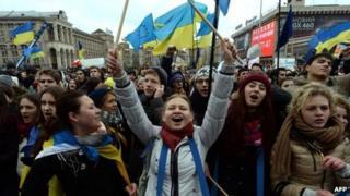 Pro-EU protesters in Kiev. Photo: 26 November 2013