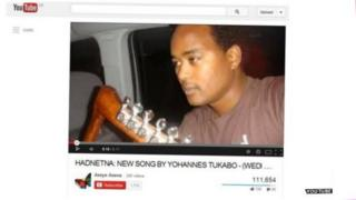 A screen grab from the Eritrean video that has had more than 100,000 views
