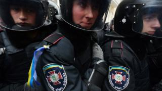 Police guard against Ukrainian protestors