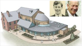 Artist's impression of new theatre and photos of Brian Saville
