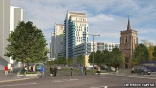 An artist's impression of how the redevelopment of Queensmere Shopping Centre might look