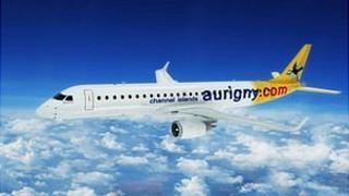 Mock-up of an Aurigny Embraer jet