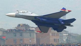 File photo: a Su-30 fighter jet performs in China