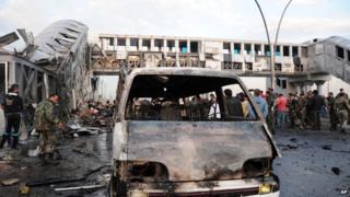 Scene of suicide bombing in Sumariyah near Damascus - 24 November