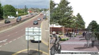 Bourges Boulevard, Peterborough, and artist's impression of new plan
