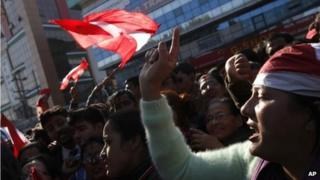Nepali Congress supporters celebrate election results in Kathmandu