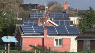 Solar panels on houses