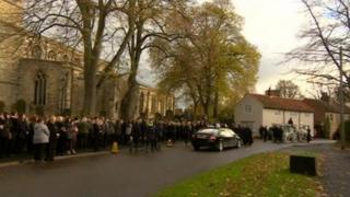 The funeral at St Mary's Church in Barton