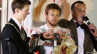Jenson Button turns on the Christmas lights in Frome