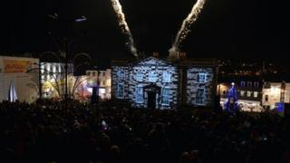 The celebrations culminated in a light show in the city centre