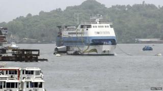 "Casino Royale Goa, an off-shore casino on a ship, is pictured anchored on the Mandovi river which runs through Goa""s capital Panaji"
