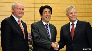Martin McGuinness, Shinzo Abe and Peter Robinson