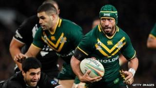 Jonathan Thurtson (R) of Australia in action during the Rugby League World Cup final