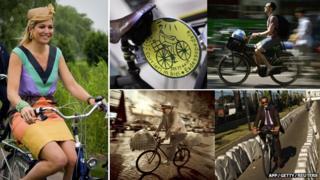 Various Europeans on bikes