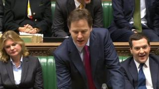 Conservative Chancellor George Osborne sat alongside Mr Clegg as he analysed the causes of UK economic recovery