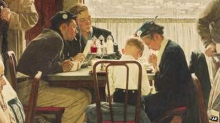 "This undated file photo provided by Sotheby's shows the popular Norman Rockwell masterpiece ""Saying Grace"""