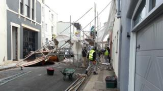 Collapsed scaffolding in Princess Victoria Street