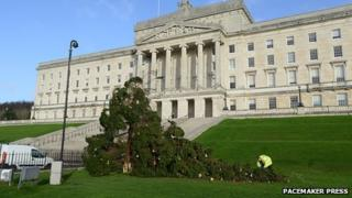 The Christmas tree at Stormont was also a casualty of the strong winds