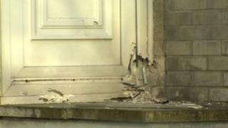 The device caused damage to the front door of the property