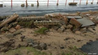Damage to the seafront in Rhyl
