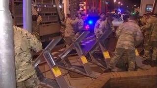 The Light Dragoons erecting flood defences in Great Yarmouth