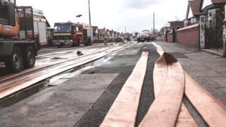 Rhyl flood clean-up scene
