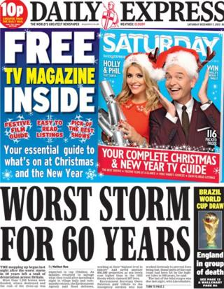 Daily Express front page 7/12/13