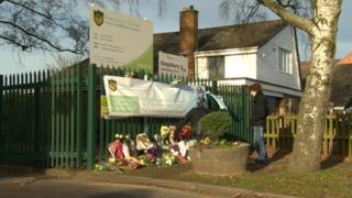 flowers outside Kingsbury School