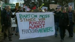 Anti-fracking protesters at an exploratory gas drilling site in Salford