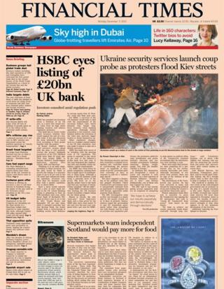 Financial Times front page 9/12/13