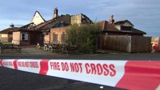 Bridge Inn fire scene
