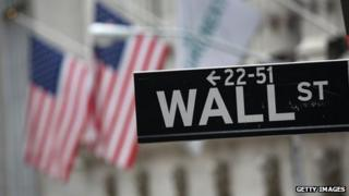 Wall Street sign and flags