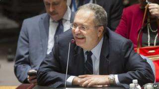 The UN Secretary General's Special Representative to Libya, Tarek Mitri, addressing the Security Council.