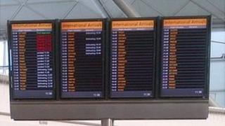 screens at Stansted