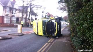 Ambulance turned over