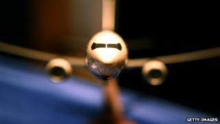 Miniature model of Boeing 737-800 on display