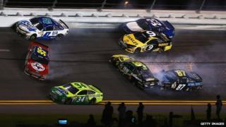 Action from a Nascar race at Daytona Beach in Florida