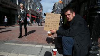 Beggar in Dublin - file pic
