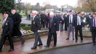 Mourners at Robert Argyle's funeral
