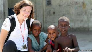 Mandy working in Haiti before malaria