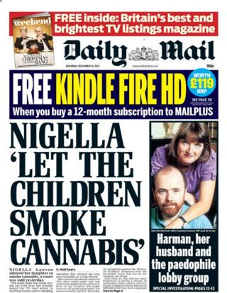 Daily Mail front page 14/12/13