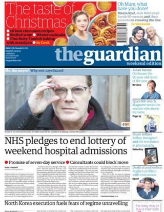 Guardian front page 14/12/13