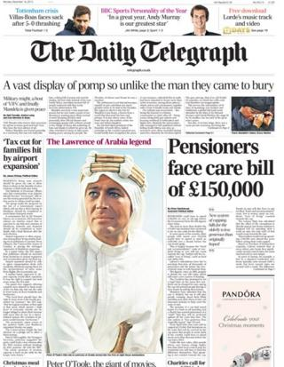 Daily Telegraph front page 16/12/13
