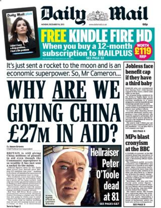 Daily Mail front page 16/12/13