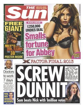 Sun front page 16/12/13