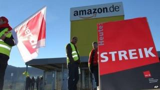 Amazon employees strike in front of the logistics centre, in Graben, near Augsburg, Germany