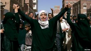 Yemeni journalist and activist Tawakul Karman (centre) marches with women in anti-government protest (file photo)