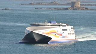 Condor Vitesse with Brehon Tower off Guernsey in the background