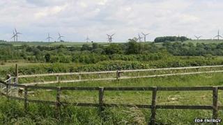 Artist impression of wind turbines